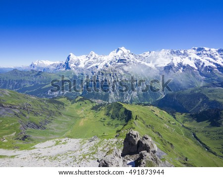 Panoramic view of the Eiger, Mönch and Jungfrau from Piz Gloria, Switzerland