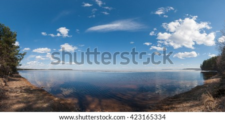 Panoramic view of the forest lake - stock photo