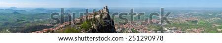 Panoramic view of the fortress of Guaita tower in San Marino Republic - stock photo