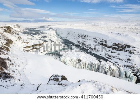 Panoramic view of the frozen Gullfoss waterfall in Iceland