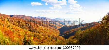 Panoramic view of the Great Smoky Mountains National Park in Tennessee