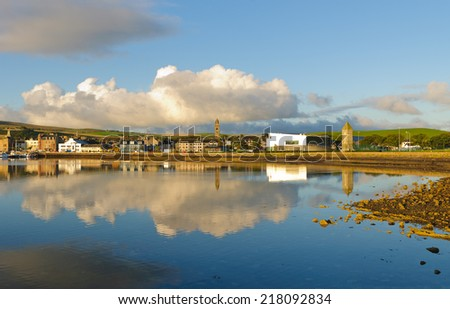 Panoramic view of the Harbor and City of Cambeltown, Argyll and Bute, Kintyre, Scotland - stock photo