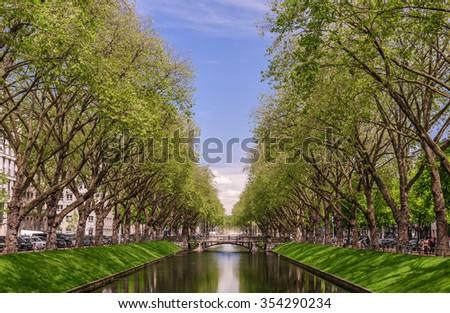 Panoramic view of the historic avenue Koenigsallee (King's Avenue), Dusseldorf, Germany - stock photo