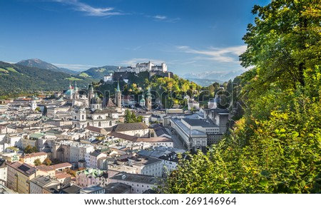 Panoramic view of the historic city of Salzburg with Hohensalzburg Fortress in springtime, Salzburger Land, Austria - stock photo