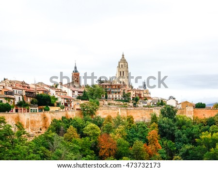 Panoramic view of the historic city of Segovia, Spain