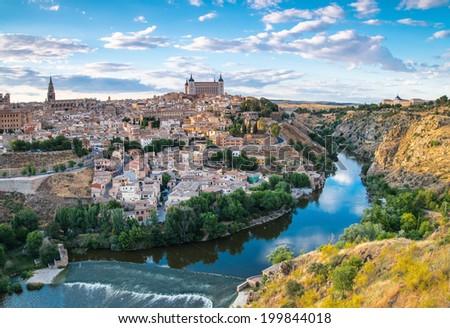 Panoramic view of the historic city of Toledo with river Tajo in Castile-La Mancha, Spain - stock photo