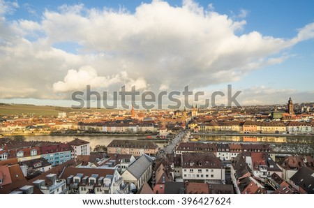 Panoramic view of the historic city of Wurzburg with Alte Mainbrucke, region of Franconia, Northern Bavaria, Germany - stock photo