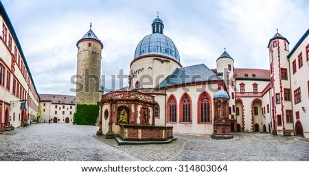 Panoramic view of the historic courtyard of famous fortress Marienberg in Wurzburg, region of Franconia, Northern Bavaria, Germany - stock photo