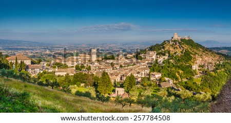 Panoramic view of the historic town of Assisi in beautiful morning light, Umbria, Italy - stock photo