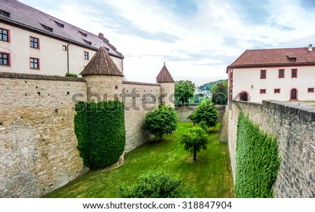 Panoramic view of the historic walls of famous fortress Marienberg in Wurzburg, region of Franconia, Northern Bavaria, Germany - stock photo