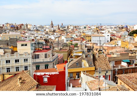 Panoramic view of the historical center of Valencia, Spain  - stock photo