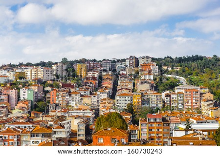 Panoramic view of the house tops Istanbul, Turkey