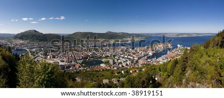 Panoramic view of the idyllic city of Bergen, Norway, from Mount Floyen.