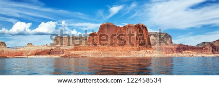 panoramic view of the lake Powell, Page, USA - stock photo