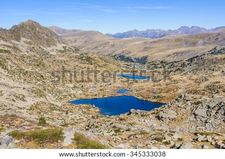 Panoramic view of the lakes in the circuit of Lake Pessons, Andorra