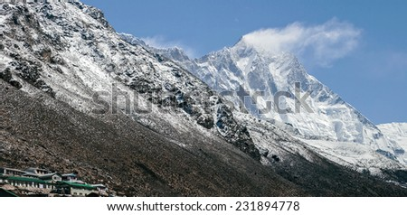 Panoramic view of the Lhotse from the Dingboche village - Nepal, Himalayas - stock photo
