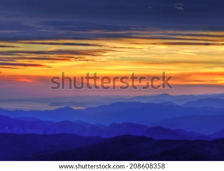 Panoramic view of the Ligurian sea from the top of the Apennines at sunset, Italy