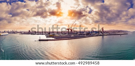 panoramic view of the livorno port on the mediterranean sea at sunrise