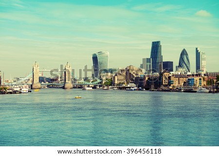 Panoramic view of the London skyline