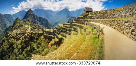 Panoramic view of the machupicchu citadel, Cuzco, Peru. - stock photo