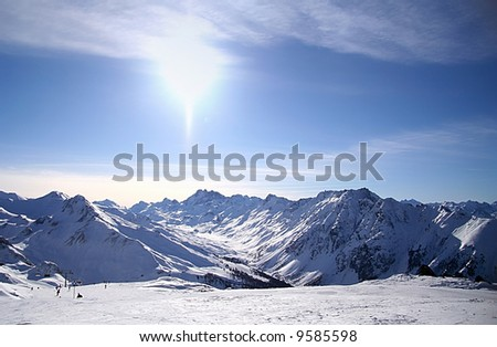 Panoramic view of the main Caucasian mountain ridge. - stock photo