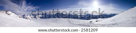 Panoramic view of the main Caucasian mountain ridge. View from Elbrus, 4100m - stock photo