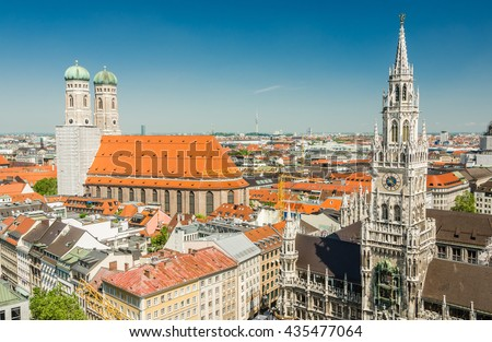 Panoramic view of the Marienplatz is a central square in the city centre of Munich, Germany.  - stock photo