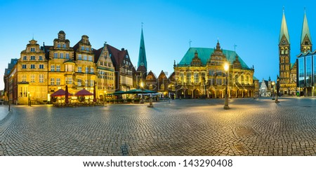 Panoramic view of the Market Square in Bremen, Germany at night - stock photo