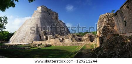 Panoramic view of the Mayan pyramids in Uxmal, Yucatan, Mexico. - stock photo