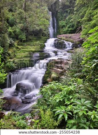 Panoramic view of the McLean Falls (Catlins Forest Park New Zealand) - stock photo