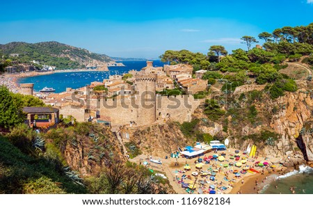 Panoramic view of the medieval castle in Tossa de Mar, Costa Brava, Spain