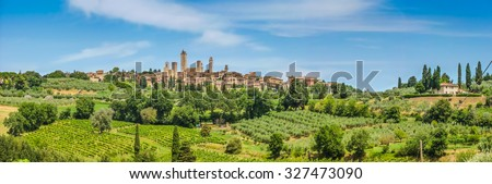 Panoramic view of the medieval town of San Gimignano on a hill, Tuscany, Italy - stock photo