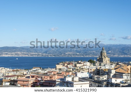 Panoramic view of the Messina. Temple Christ the King. Reggio di Calabria  is seen on the opposite bank. Sicily. Italy - stock photo