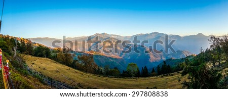 Panoramic view of the mountains in CingJing farm, Taipei - stock photo