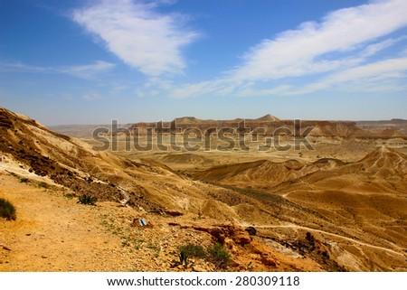 Panoramic view of the Negev Desert - Sde Boker - Israel - stock photo
