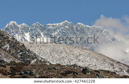 Panoramic view of the Nuptse wall (top 7864 m) - Mount Everest region, Nepal, Himalayas - stock photo