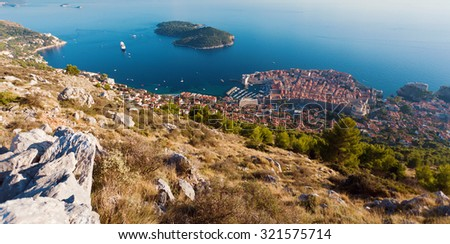 Panoramic view of the old city of Dubrovnik. Croatia - stock photo