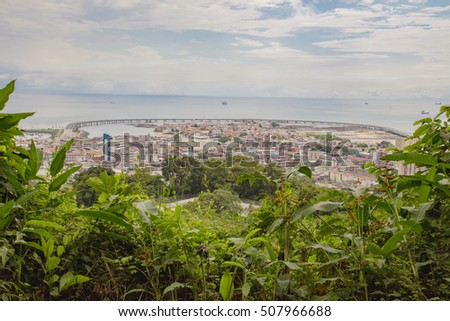 Panoramic View of the old city of Panama and highway coast. Pana