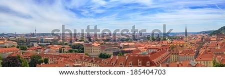 Panoramic view of the old city of Prague, Czech Republic