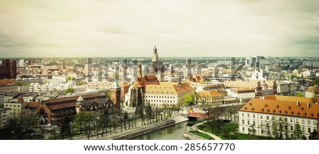 panoramic view of the old city of Wroclaw in Poland, travel concept