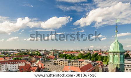 Panoramic view of the old part of the city from the observation deck at the Round tower (Rundetaarn) in Copenhagen, Denmark - stock photo