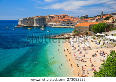 Panoramic view of the Old Town of Dubrovnik, Croatia - stock photo