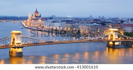Panoramic view of the parliament building and chain bridge in Budapest, Hungary - stock photo