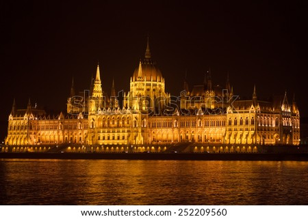 Panoramic view of the Parliament in Budapest at night  - stock photo