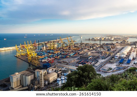 Panoramic view of the port in Barcelona. It is one of the busiest container port in Europe - stock photo