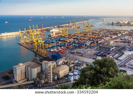 Panoramic view of the port in Barcelona. It is one of the busiest container port in Europe in Barcelona, Spain. - stock photo