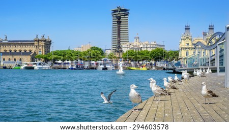 panoramic view of the Port Vell and the Columbus Monument at the lower end of La Rambla promenade in Barcelona, Spain - stock photo