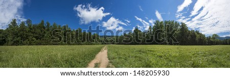 panoramic view of the prairie in the smoky mountain - stock photo