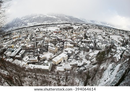 Panoramic view of the Principality of Liechtenstein in winter (Fish-eye Lens) - stock photo