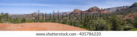 Panoramic view of the Red Rock Country in Sedona Arizona from the Yavapai Trail - stock photo